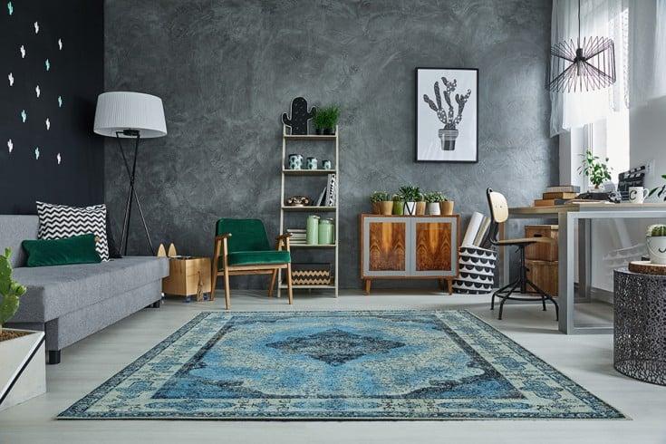 Orientalischer Baumwoll-Teppich PURE UNIQUE 240x160cm blau geometrische Muster