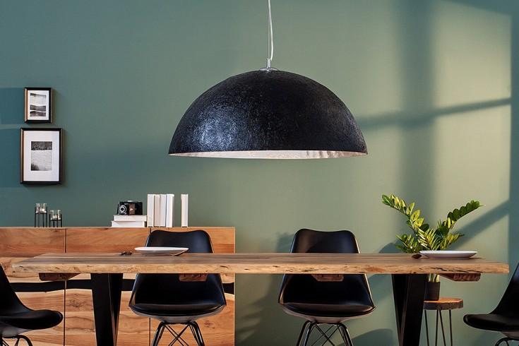 Elegante Design Hängeleuchte GLOW 50cm schwarz silber Hängelampe