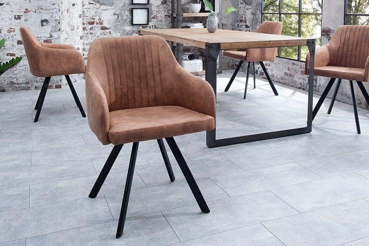 Retro Design Stuhl LUCCA vintage braun mit Steppung Industrial Stil
