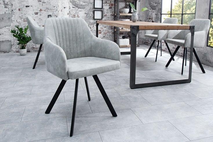Retro Design Stuhl LUCCA stone grau mit Steppung Industrial Stil