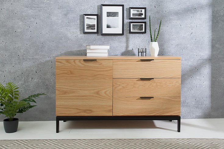 design sideboard modern nature 110cm echt eiche retro stil riess. Black Bedroom Furniture Sets. Home Design Ideas