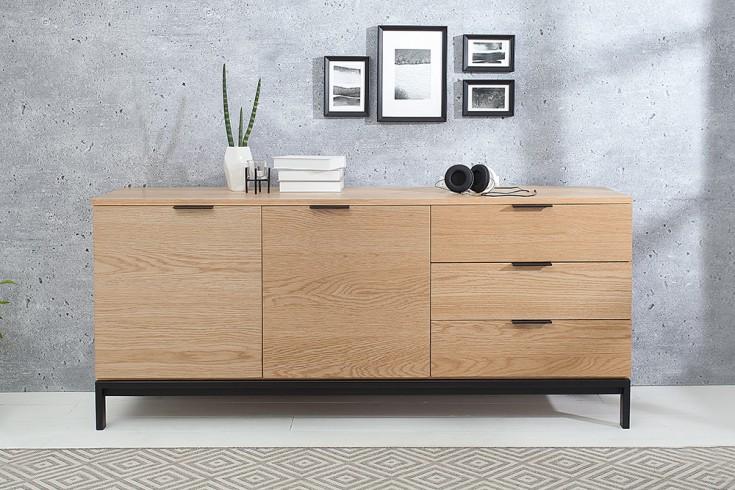 Design Sideboard MODERN NATURE 160cm Echt Eiche Retro Stil