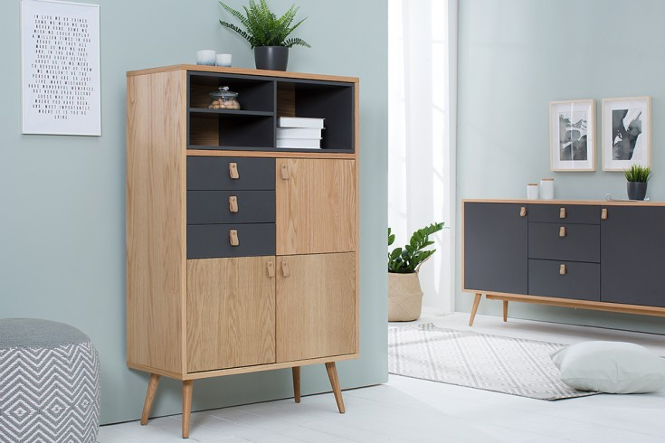 Design Highboard GLOBETROTTER  120cm Eiche anthrazit