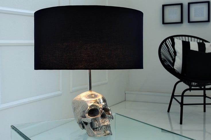 Extravagante Tischlampe SKULL 44cm schwarz Totenkopf Tischleuchte