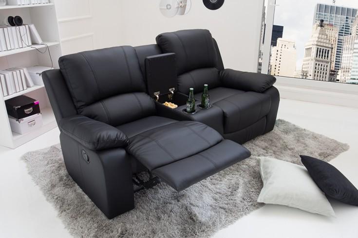 Exklusiver 2er Kino Sessel HOLLYWOOD 188cm schwarz mit Getränkehalter
