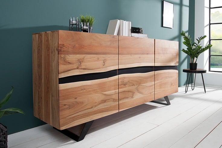 Massives Sideboard AMAZONAS 150cm Akazie Metall Baumkante