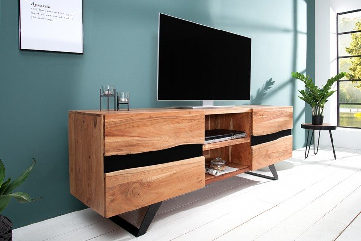 Imposantes TV Board AMAZONAS 160cm Akazie Metall schwarz Massivholz Baumkante