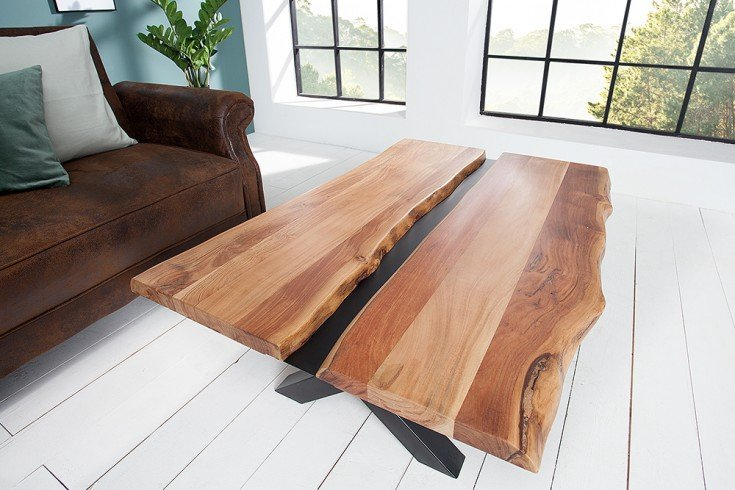 Massivholz Couchtisch AMAZONAS 120cm Akazie Metall schwarz Baumkante
