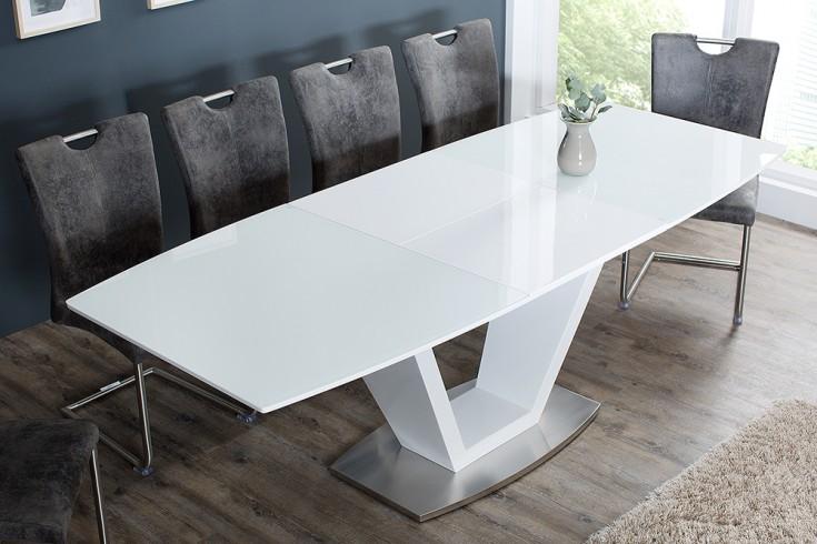 Design Esstisch SPARKLE 160-220cm Hochglanz weiß ausziehbar Opalglas Edelstahl gebürstet