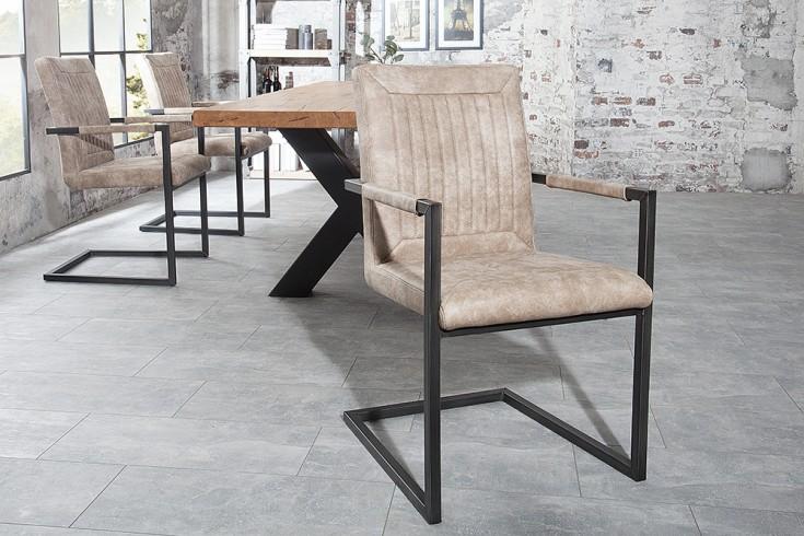 Design freischwinger stuhl bristol beige mit armlehne for Stuhl mit armlehne design