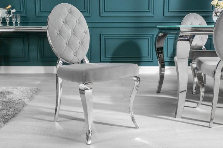 Eleganter Stuhl MODERN BAROCK edel-grau Samt mit Knöpfen Edelstahlbeine