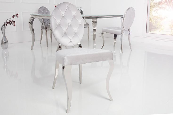 Eleganter Stuhl MODERN BAROCK grau Samt mit Knöpfen Edelstahlbeine