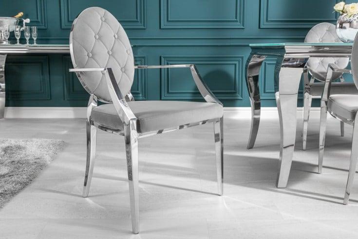 Eleganter Stuhl MODERN BAROCK edel-grau Samt mit Armlehnen und Zierknöpfen