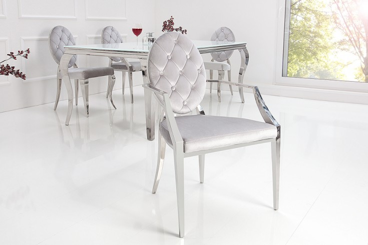 Eleganter Stuhl MODERN BAROCK grau Samt mit Armlehnen und Zierknöpfen