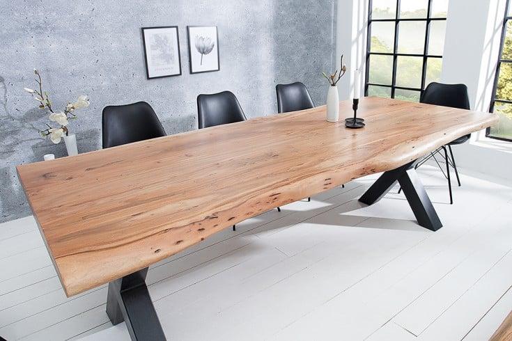 Massiver Baumstamm Tisch MAMMUT 200cm Akazie Massivholz 6cm dicke Platte
