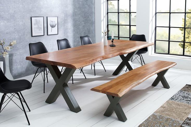 Massiver Baumstamm Tisch MAMMUT NATURE 200cm Akazie Massivholz 6cm dicke Platte