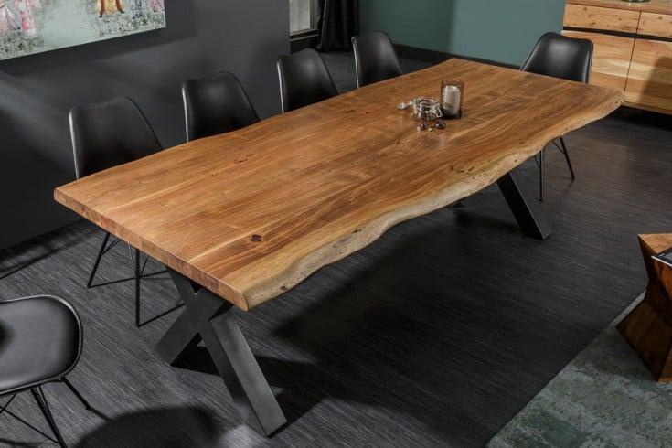 Massiver Baumstamm Esstisch MAMMUT NATURE 200cm Akazie Massivholz 6cm dicke Platte