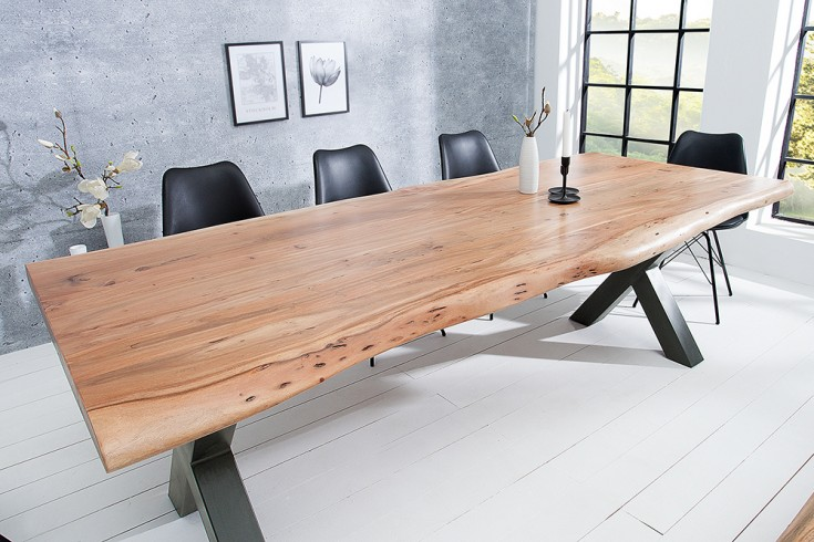 Massiver Baumstamm Tisch MAMMUT 160cm Akazie Massivholz 3,5cm dicke Platte