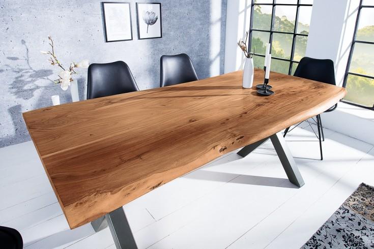 Massiver Baumstamm Esstisch MAMMUT NATURE 160cm Akazie 3,5cm dicke Platte
