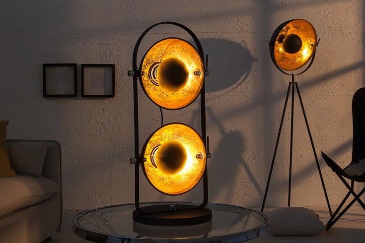 Design Tischlampe STUDIO 2 Lampenschirme schwarz gold Lampe mit Blattgold