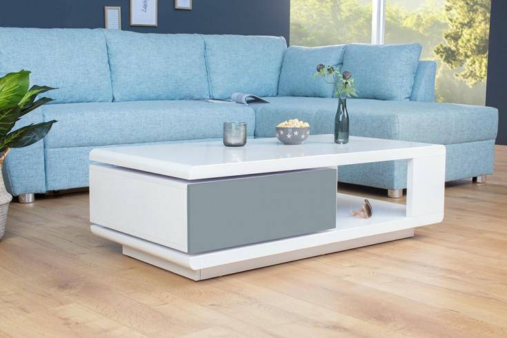 moderner design couchtisch fortuna hochglanz wei anthrazit mit funktioneller schublade riess. Black Bedroom Furniture Sets. Home Design Ideas