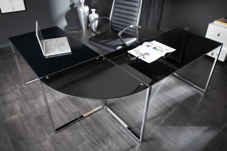Exklusiver Design Eck-Schreibtisch BIG DEAL 180cm Glas schwarz