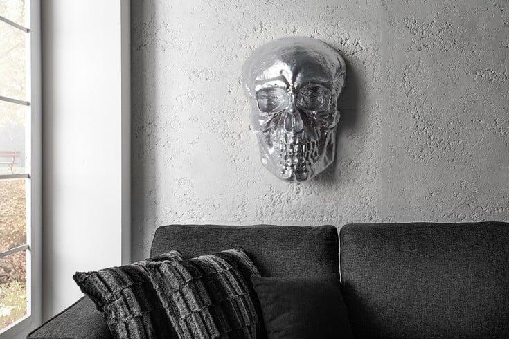 Exklusive Totenkopf Wandskulptur SKULL XXL 42cm silber Deko Schädel Totenschädel