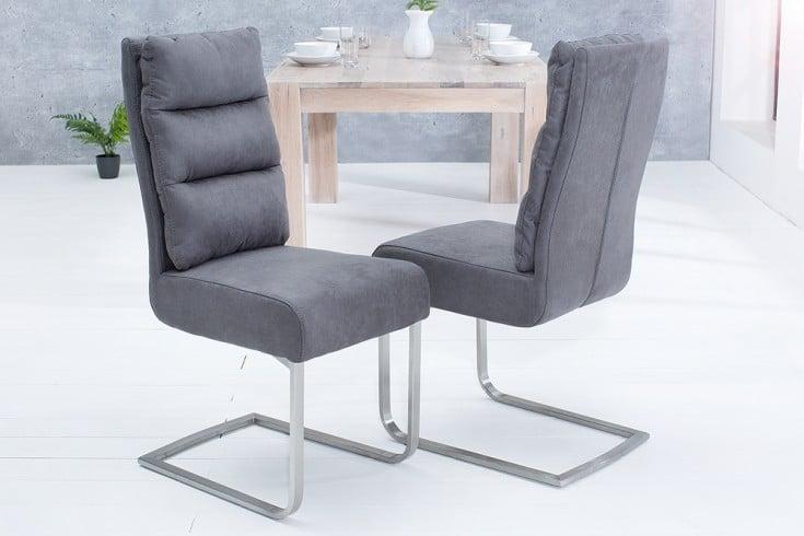 Design Freischwinger Stuhl COMFORT vintage grau mit Edelstahl-Gestell