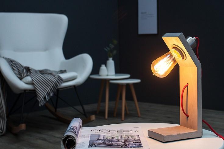 Industrial Tischlampe CEMENT STRUCTURE 30cm grau Beton mit Textilkabel