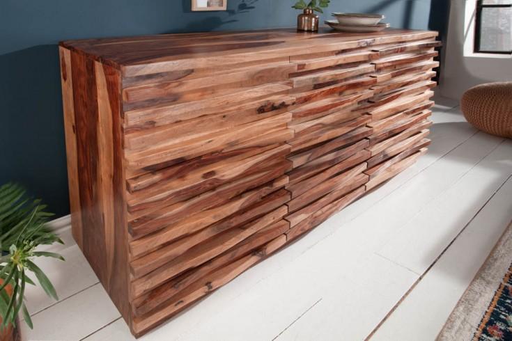 Massives Sideboard RELIEF 160cm Sheesham Holz mit aufwändiger Front