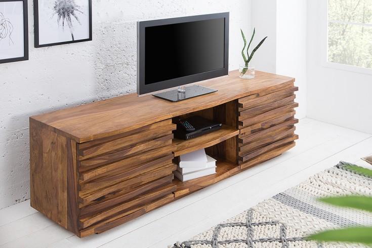 Massives TV-Board RELIEF 150cm Sheesham Holz stone finish