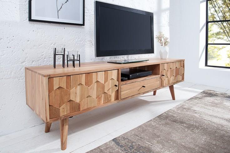 Massives TV-Board MYSTIC LIVING 140cm Akazie natur 3D Oberfläche Massivholz