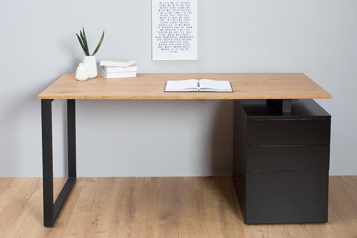 Design Schreibtisch COMPACT 160cm Eiche edelmatt schwarz inkl. Aktencontainer