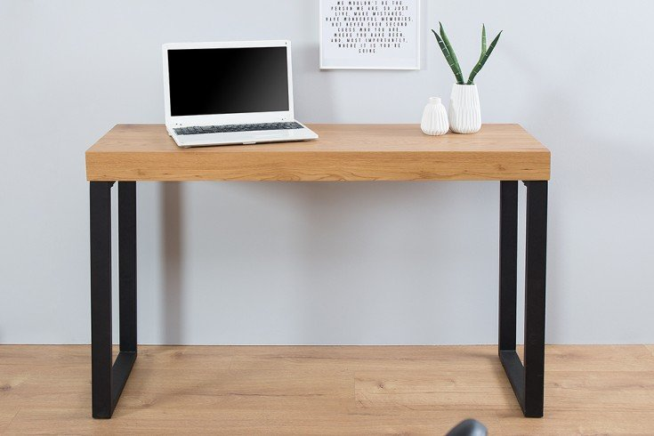 Design Laptoptisch OAK DESK 120cm Eiche Vintage Metallgestell schwarz