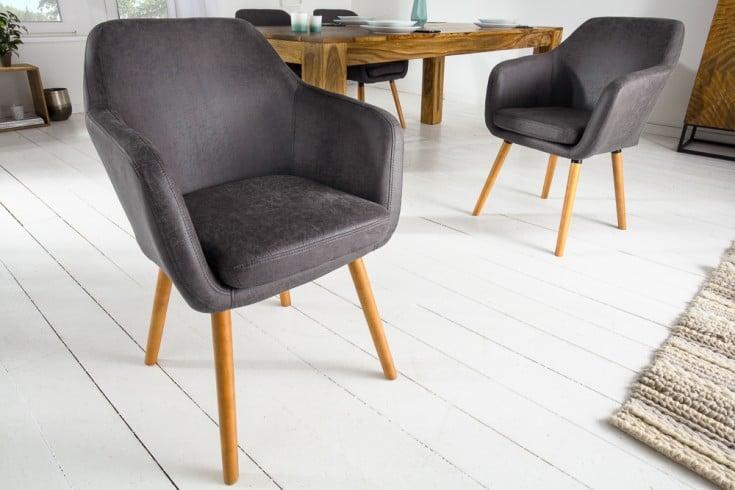 Design Armlehnen Stuhl SUPREME vintage grau mit Massivholzbeinen