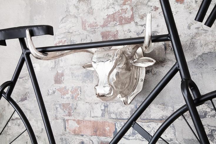 Design Fahrradaufhänger Stierkopf 47cm silber Wanddekoration