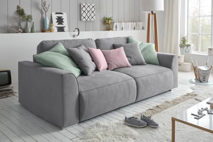 Modernes Design Big Sofa WEEKEND grau Schlaffunktion mit Bettkasten und Kissen