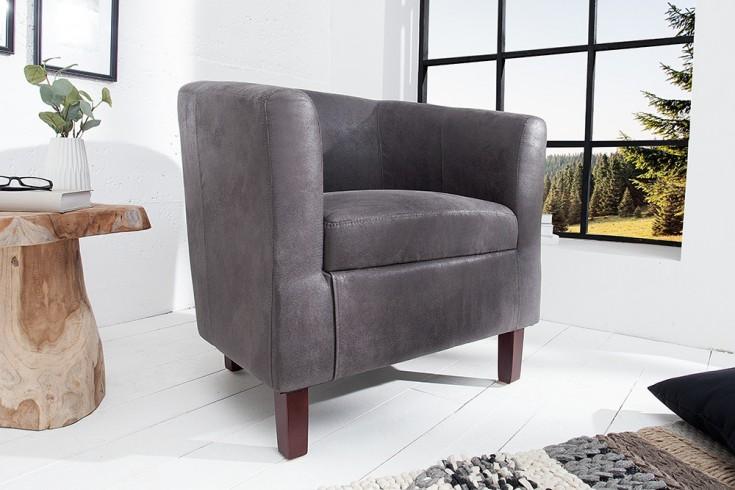 Design Sessel HEMINGWAY vintage grau Massivholzbeine kolonial