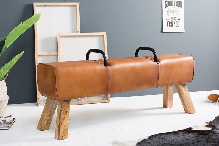 Design Sitzbank BOCK Echtleder Bezug 134cm Kult Schulsport Bank
