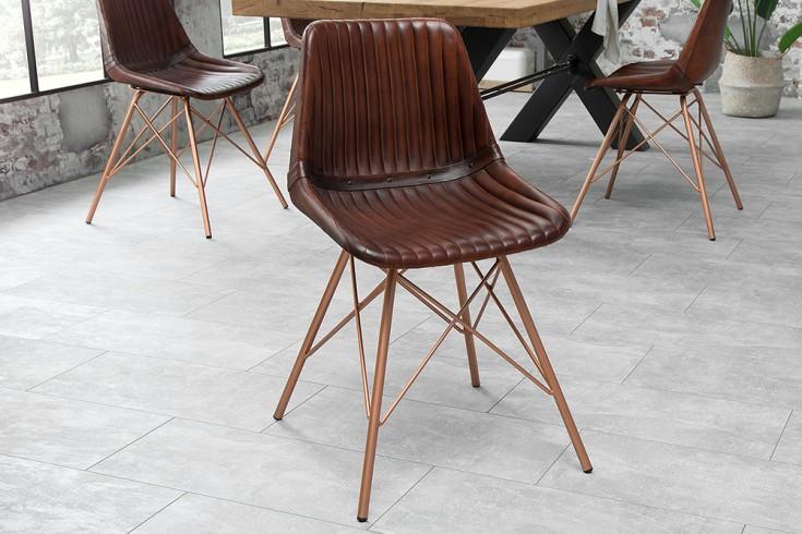 Retro Stuhl TORO antik braun Echtleder gesteppt mit Kupfergestell