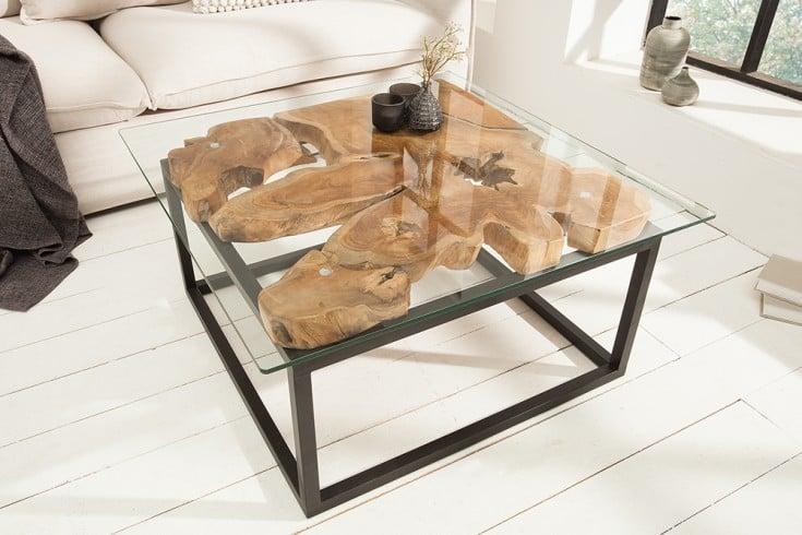 Einzigartiger Couchtisch TEAK ROOT 70cm Teakholz Industrial Design Glastisch