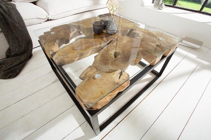 Einzigartiger Couchtisch TEAK ROOT Teakholz Industrial Design Glastisch