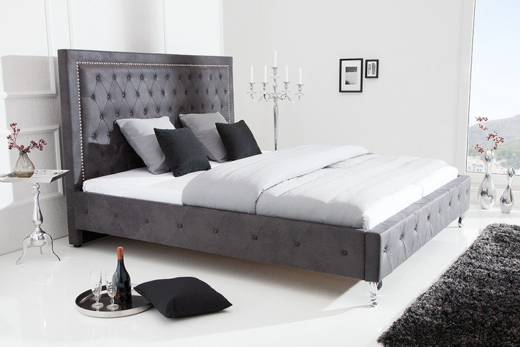 Design Bett EXTRAVAGANCIA 180x200cm antik grau Nietenbesatz