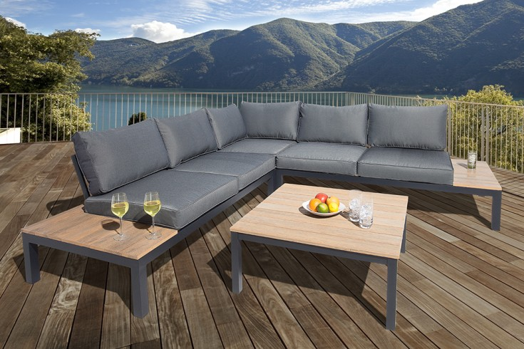 Große Garten Sitzgruppe MIAMI LOUNGE XL schwarz anthrazit Gartenmöbel inkl. Tisch und Kissen
