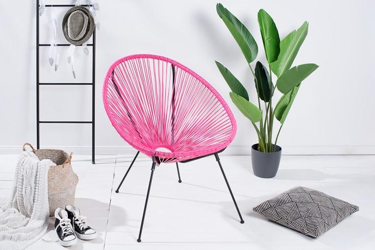 Retro Designklassiker ACAPULCO Sessel pink Gartenstuhl wetterfest