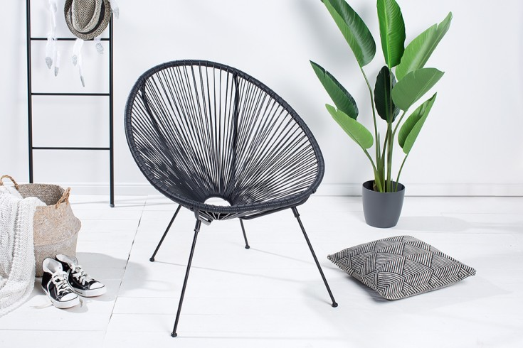 Retro Designklassiker ACAPULCO Sessel schwarz Gartenstuhl wetterfest
