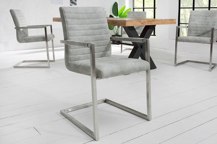Industrial Freischwinger Stuhl LOFT stone grau mit Armlehne Edelstahlgestell