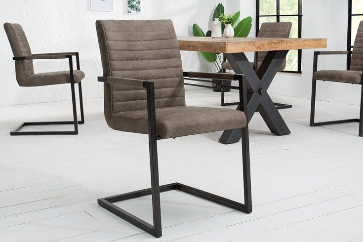 Industrial Freischwinger Stuhl LOFT taupe grau mit Armlehne Eisengestell
