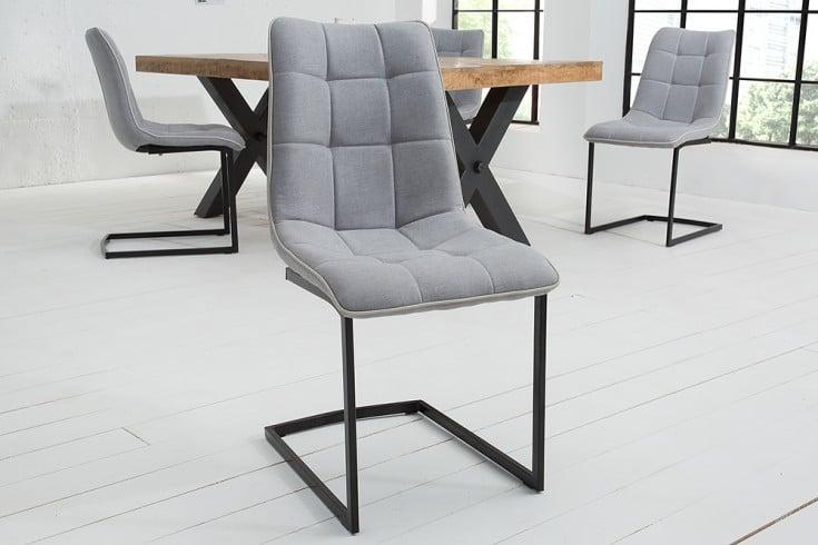 Design Freischwinger Stuhl MIAMI hellgrau Metallgestell matt schwarz