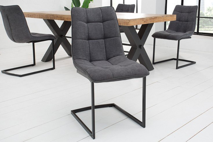 Design Freischwinger Stuhl MIAMI dunkelgrau Vintage Gestell matt schwarz